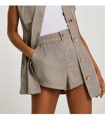 river island womens beige slouchy shorts