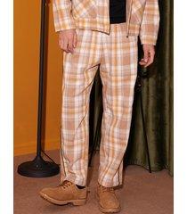 pantalones casuales a cuadros vintage para hombre