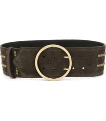 etro wide studded belt - brown