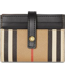 burberry icon stripe e-canvas folding card case - brown