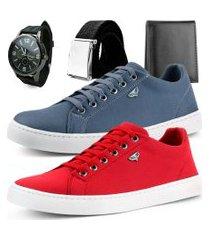 kit 2 pares de sapatênis dhl masculino chumbo e vermelho + relógio + cinto e carteira