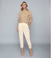 reiss bleeker - tapered cargo trousers in cream, womens, size 10