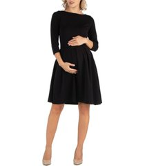 24seven comfort apparel knee length fit n flare maternity dress with pockets