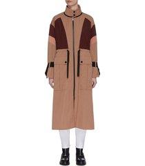 'zinzolin' colourblock military zip up coat