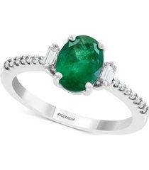 effy emerald (1-1/8 ct. t.w.) & diamond (1/5 ct. t.w.) ring in 14k white gold