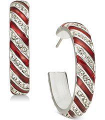 holiday lane pave striped hoop earrings, created for macy's