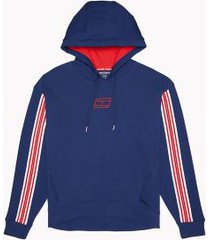 tommy hilfiger women's essential stripe tape hoodie deep blue - s