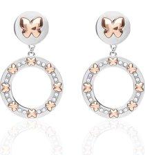 orecchini pendenti con farfalle oro rosa e cristalli per donna