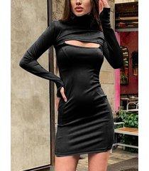corte alto negro cuello mangas largas vestido