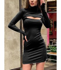 negro recortado alto cuello mangas largas vestido