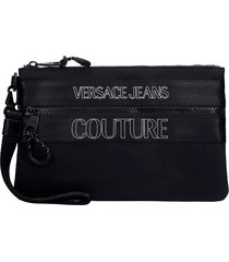 versace jeans couture clutch in black synthetic fibers