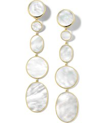 ippolita rock candy long clip earrings in yellow gold/mother of pearl at nordstrom