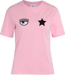 chiara ferragni eyestar t-shirt in pink cotton with logo