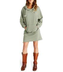 women's etica layla long sleeve cotton hoodie dress, size small - blue