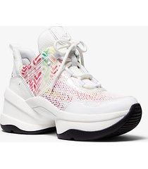 mk sneaker olympia in materiale misto - bianco ottico cangiante (bianco) - michael kors