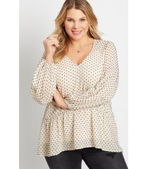 maurices plus size womens white swiss dot long sleeve babydoll top beige