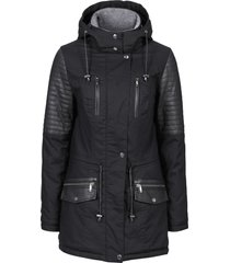 parka con inserti in similpelle (nero) - rainbow