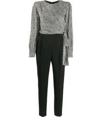 michael michael kors leopard-print jumpsuit - black