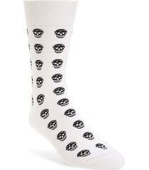 men's alexander mcqueen skull short socks, size large - white