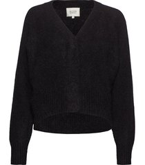 this cardigan with deep v-neck is made from a soft mohair-w gebreide trui zwart second female