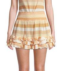 ramy brook women's madina stripe ruffle a-line mini skirt - neutral combo - size m