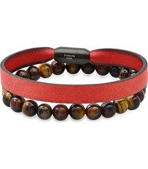 anthony jacobs men's 2-piece leather & tiger eye beaded bracelet set
