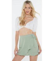 womens summer wrap ruffle mini skirt with high-waist - sage