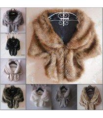 new high-grade elegant bridal wedding faux fur long shawl stole wrap shrug scarf