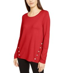 alfani petite hardware seamed pullover sweater, created for macy's