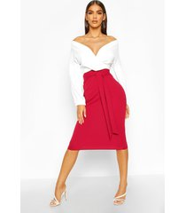 contrast off shoulder wrap midi dress, berry
