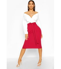 contrast off shoulder wrap midi dress, berry