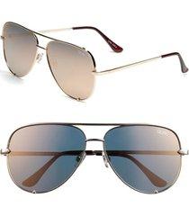 quay australia high key 62mm oversize aviator sunglasses in gold/gold mirror at nordstrom