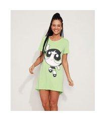 camisola feminina docinho as meninas superpoderosas manga curta verde