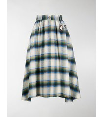 golden goose checkered high-waist cotton skirt