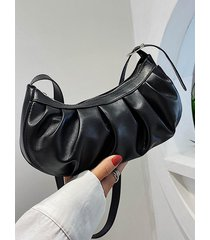 casual pleated solid shoulder bag