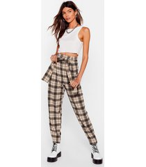 womens checked in high-waisted belted pants - beige