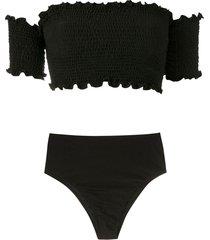 isolda prainha lycra trilobal bikini set - black