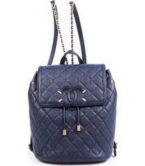 chanel filigree blue quilted leather cc chainlink backpack blue/logo sz: m