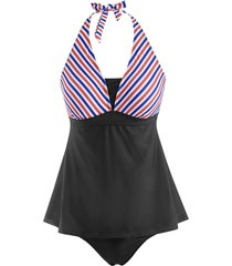 skirted halter mixed stripes panel tankini swimwear