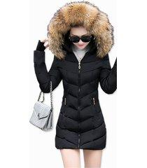 chaqueta mujer capucha gruesa acolchada corta 2811 negro