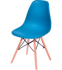 cadeira dkr polipropileno e base de madeira lawang – azul petróleo