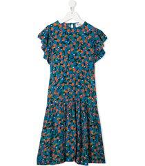 bobo choses fruit-print flamenco dress - blue