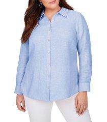 plus size women's foxcroft jordan non-iron linen chambray shirt, size 14w - blue