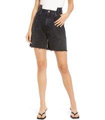 women's agolde pieced angled high waist cutoff denim shorts, size 30 - black
