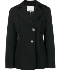3.1 phillip lim detachable-cape single-breasted blazer - black