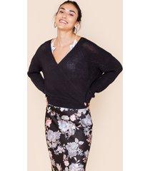 women's stacey surplice back sweater in black by francesca's - size: l