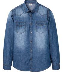 camicia in jeans a maniche lunghe slim fit (blu) - john baner jeanswear