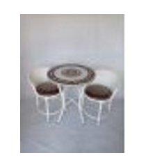 conjunto de mesa varanda branca e bege