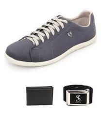 tenis sapatenis casual confortavel com cinto e carteira azul selten