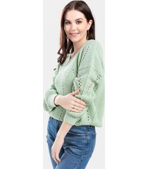 briella pointelle pullover sweater - mint